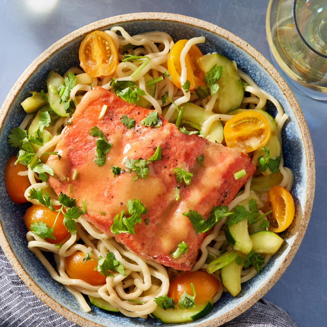 Miso-Butter Salmon & Lo Mein Noodles with Cucumber & Cherry Tomatoes