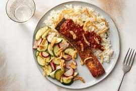 Seared Salmon & Tamarind-Tomato Sauce with Aromatic Rice & Marinated Vegetables