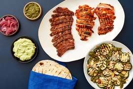 Grilled Steak & Chicken Tacos with Zucchini & Jalapeño-Cilantro Sauce