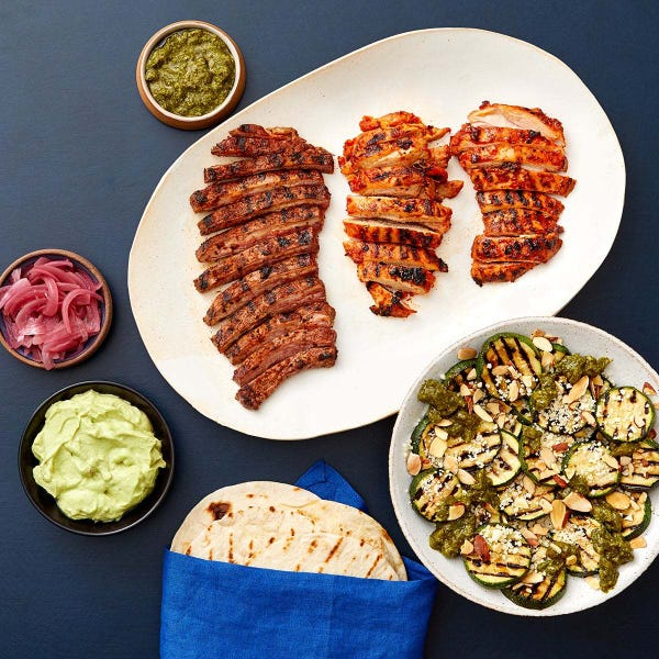 Grilled Steak & Chicken Tacos with Zucchini & Jalapeño-Cilantro Sauce