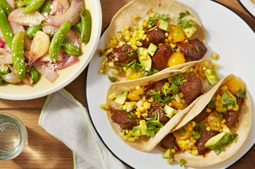 Spiced Beef Tacos with Corn Salsa & Sugar Snap Pea Salad