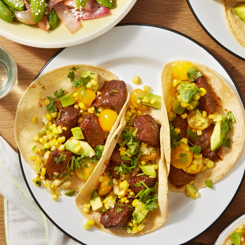 Spiced Beef Tacos with Corn Salsa & Sugar Snap Pea Salad