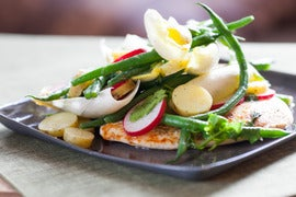 Chicken Paillards topped with Endive, Radishes & Haricots Verts