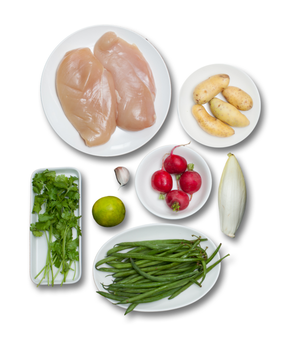 Chicken Paillards topped with Endive, Radishes & Haricots Verts ingredients