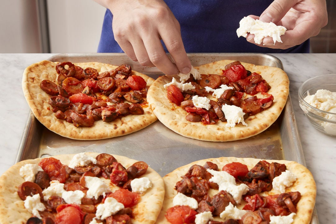 Assemble & cook the flatbreads: