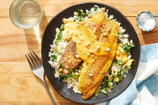 Seared Tilapia & Creamy Curry Sauce with Sesame & Bok Choy Rice