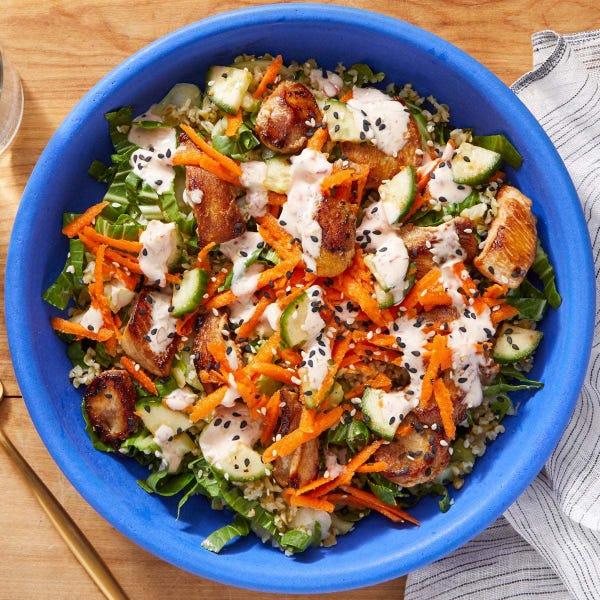 Spicy Chicken Grain Bowl with Bok Choy & Sesame Freekeh