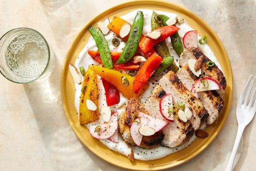Pork Chops & Preserved Lemon Yogurt with Sautéed Vegetables