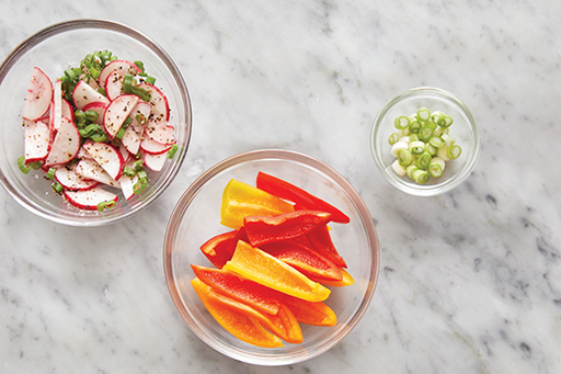 Prepare the ingredients & marinate the radishes: