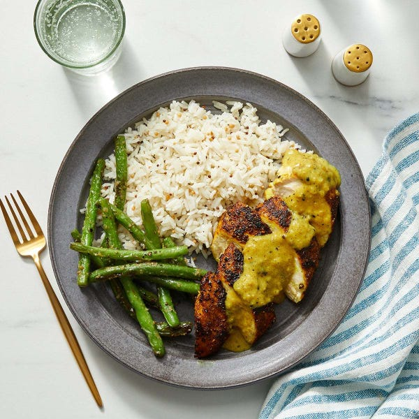 Vadouvan Chicken & Mango Chutney Sauce with Green Beans & Mustard Seed Rice