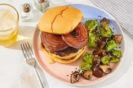 Miso-Ponzu Burgers with Sesame Shishitos & Mushrooms