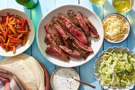 Steak, Pepper & Onion Fajitas with Tangy Slaw