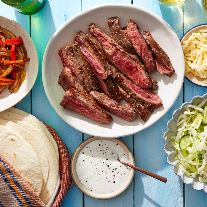 Steak, Pepper & Onion Fajitas with Tangy Slaw