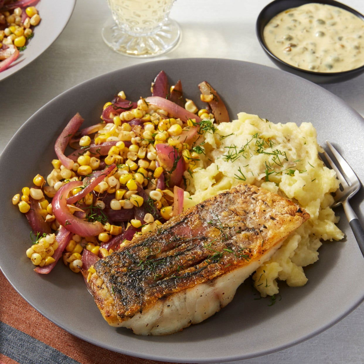 Barramundi & Garlic Mashed Potatoes with Corn & Tartar Sauce