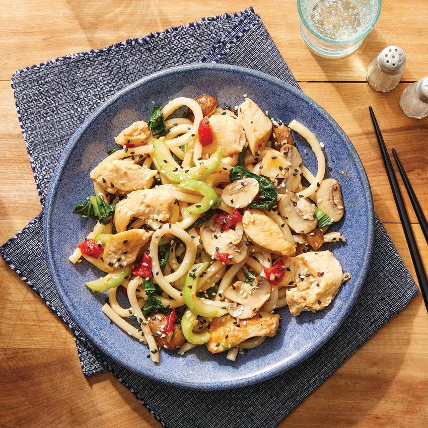 One-Pot Chicken & Udon Noodles with Soy-Miso Sauce