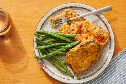 Seared Pork Chops & Cheesy Spoonbread with Sautéed Green Beans
