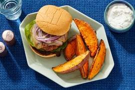BBQ Turkey Burgers with Roasted Sweet Potato Wedges & Scallion Sour Cream