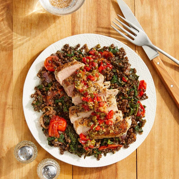 Discontinued Italian-Style Pork & Lentils with Caper & Roasted Pepper Relish