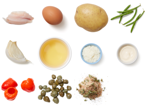 Crispy Tilapia & Caper Mayo with Salt & Vinegar Potatoes