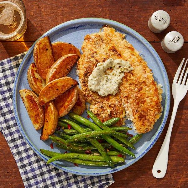 Discontinued Crispy Tilapia & Caper Mayo with Salt & Vinegar Potatoes