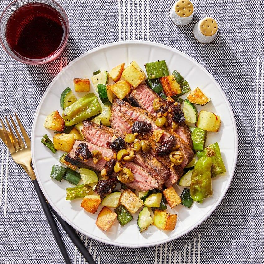 Ras El Hanout Flank Steak with Roasted Vegetables & Crispy Saffron Potatoes