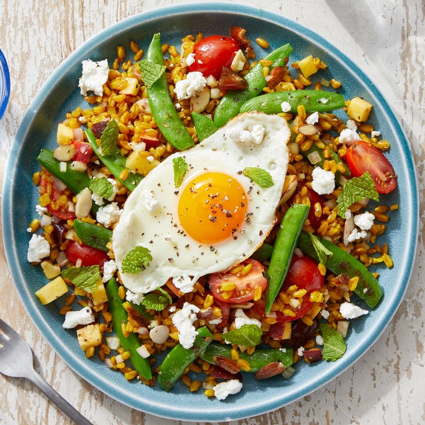 Peach & Snap Pea Grain Bowl with Feta Cheese & a Sunny Side-Up Egg