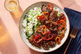 Cumin-Sichuan Beef & Peppers with Bok Choy & Rice