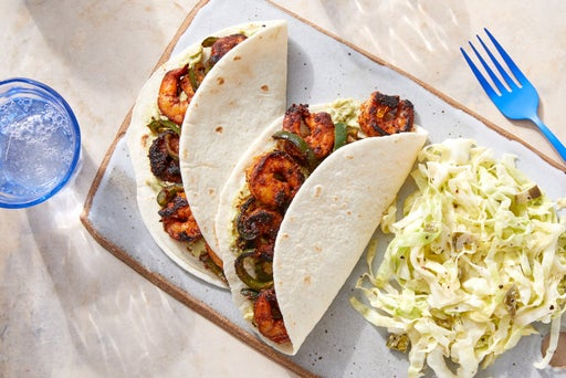 Mexican-Spiced Shrimp Tacos with Guacamole & Poblano Pepper