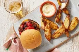 Hot Italian Pork Sausage Burgers with Potato Wedges & Aioli