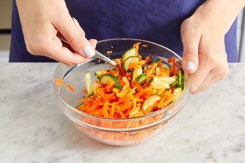 Prepare & marinate the vegetables: