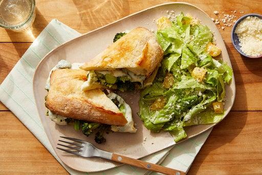 Basil Pesto & Broccoli Subs with Romaine Lettuce & Pear Salad
