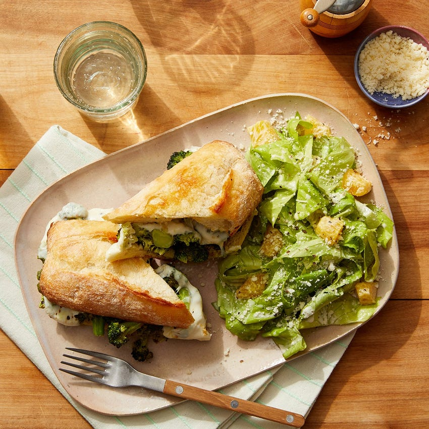 Basil Pesto & Broccoli Subs with Romaine Lettuce & Pear Salad