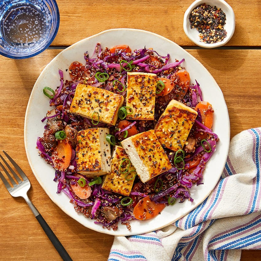 Sesame & Maple-Glazed Tofu with Quinoa & Vegetables
