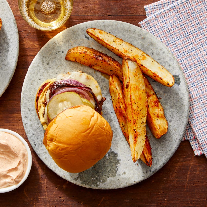 White Cheddar Cheeseburgers with Roasted Potato Wedges & Smoky Sour Cream