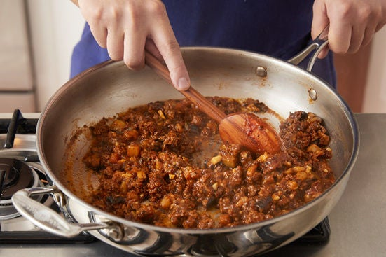 Cook the eggplant & finish the beef:
