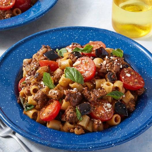 Ditali Pasta & Beef Ragù with Eggplant & Cherry Tomato Sauce