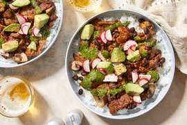 Garlicky Cilantro Beef & Beans with Avocado & Brown Rice