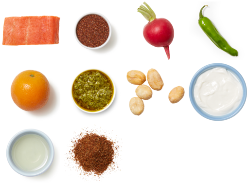 Mexican-Spiced Salmon & Cilantro Sauce with Quinoa, Shishito Peppers & Orange