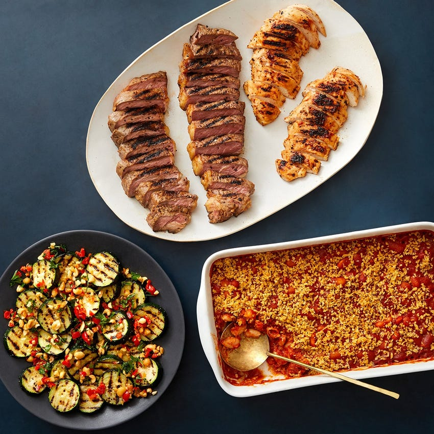 Tim Hollingsworth's BBQ-Glazed Chicken & Strip Steaks with Smoky Baked Beans & Zucchini