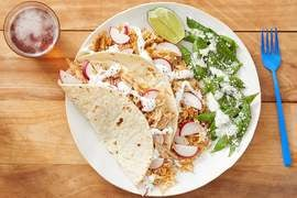 Tomatillo Chicken & Rice Tacos with Sautéed Snap Peas & Lime Mayo