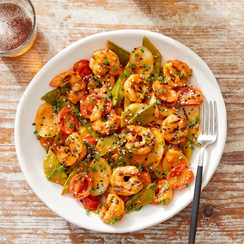 Shrimp & Rice Cakes with Ginger & Gochujang-Spiced Tomato Sauce