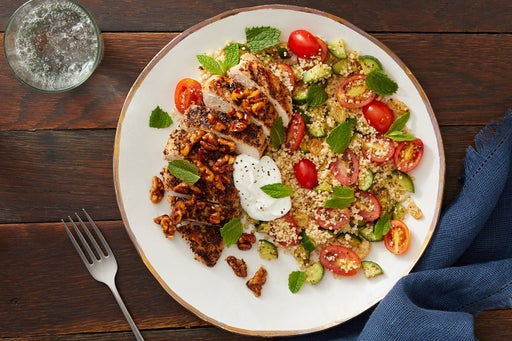 Za'atar-Spiced Chicken & Couscous with Sweet & Spicy Walnut Topping