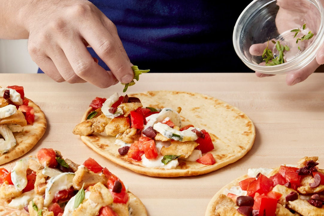 Warm the pitas & serve your dish: