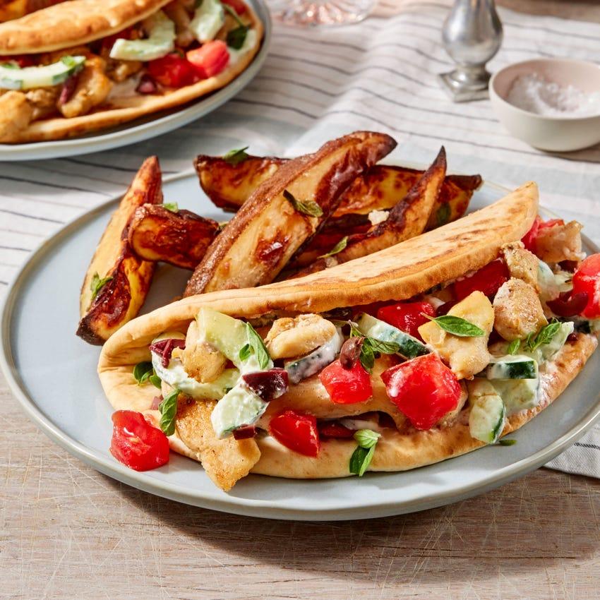 Chicken Souvlaki Pitas with Heirloom Tomato & Garlic-Oregano Potatoes