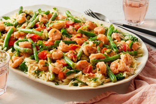 Sautéed Shrimp & Green Beans with Globe Tomatoes, Spinach, & Orzo Pasta