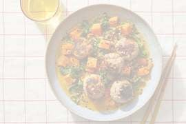 Garlic-Ginger Turkey Meatballs over Sweet Potato & Apple Curry