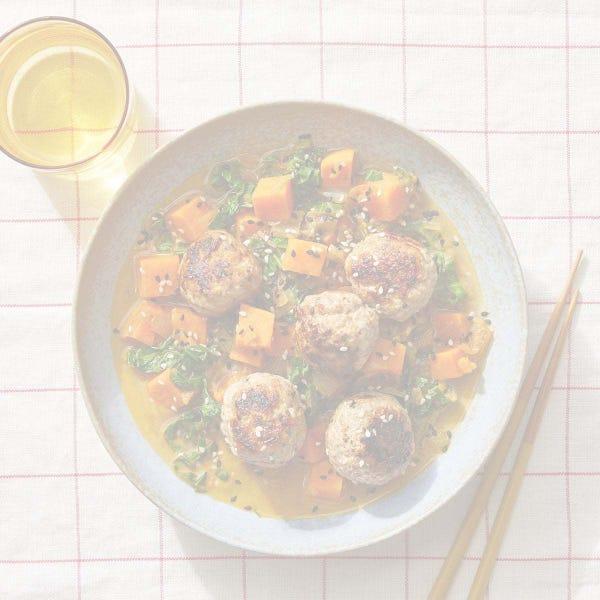Garlic-Ginger Turkey Meatballs over Sweet Potato & Apple Curry