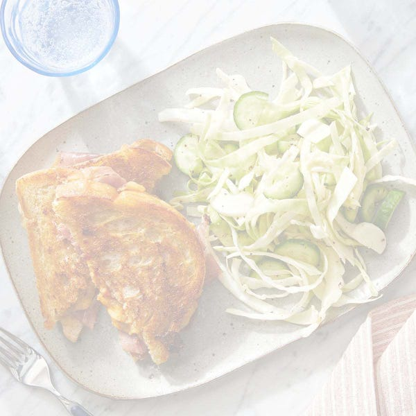 Prosciutto & Pimento Grilled Cheese with Cucumber & Cabbage Slaw