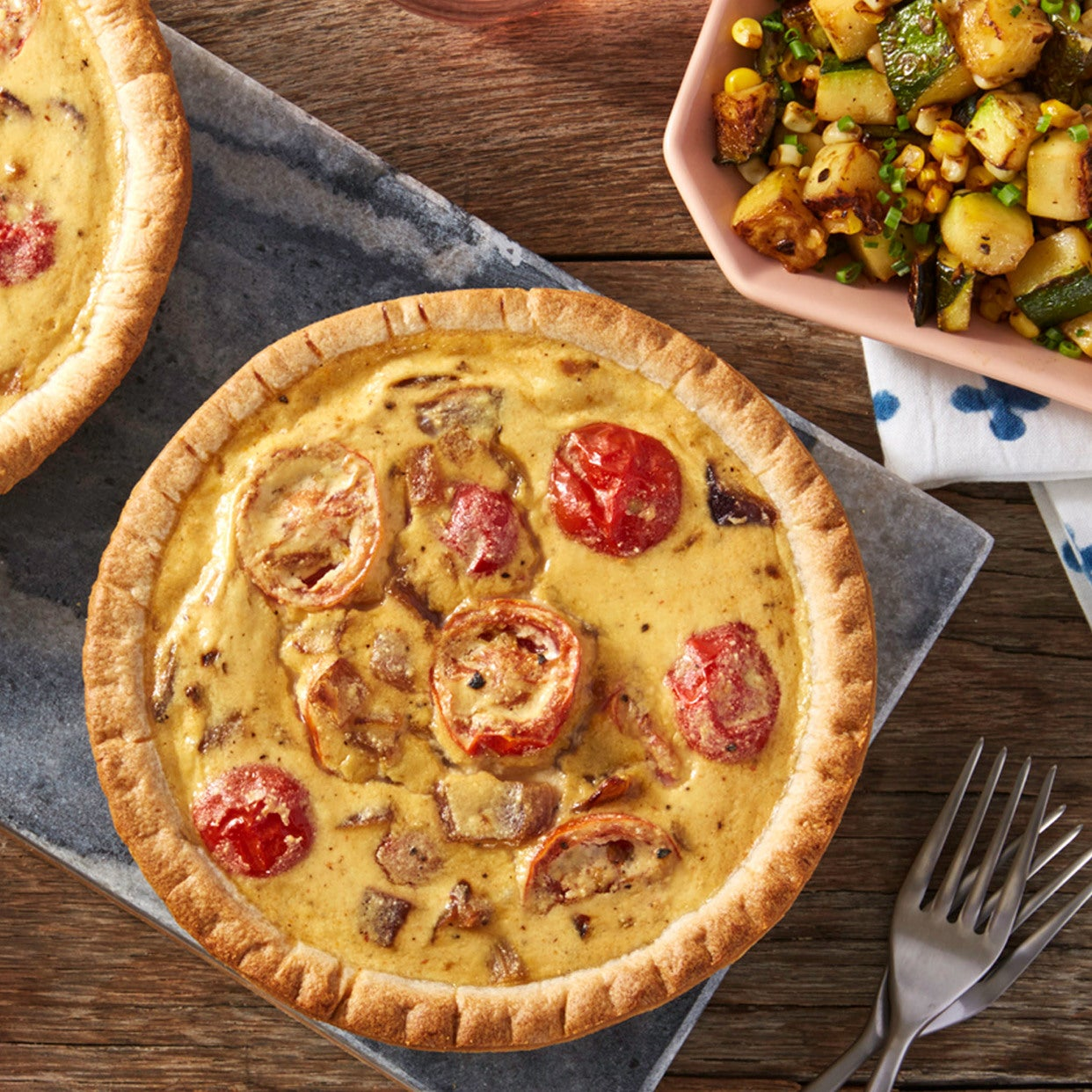Cherry Tomato & Onion Quiches with Sautéed Corn & Summer Squash