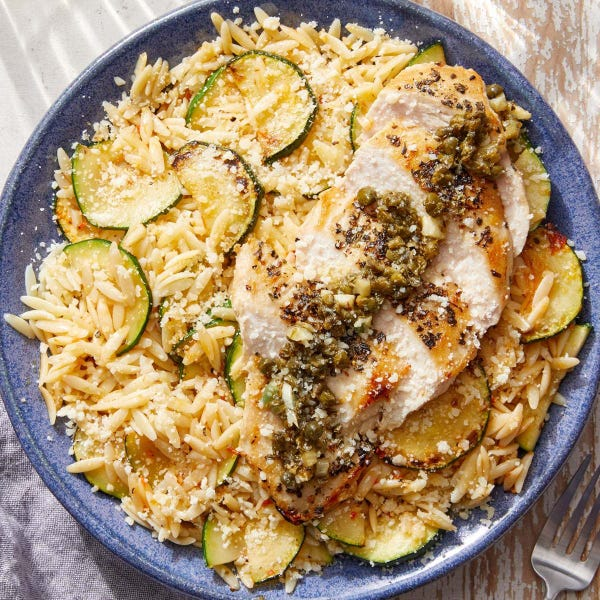 Garlic-Caper Chicken with Creamy Calabrian Zucchini & Orzo